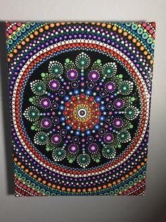 Hand Painted Mandala on Canvas, Mandala Meditation, Dot Art, Calming, Healing, #414 by MafaStones on Etsy
