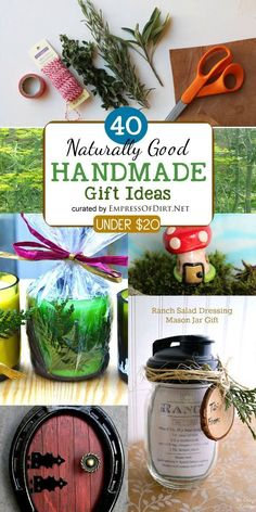 These 40 ideas for handmade gifts you can make (all under $20) come from nature-loving gardeners. Ideas include succulents planters, candles, wood-working, items for bird-lovers, quick sewing projects, lotions and potions for body and bath, and creations for foodies.