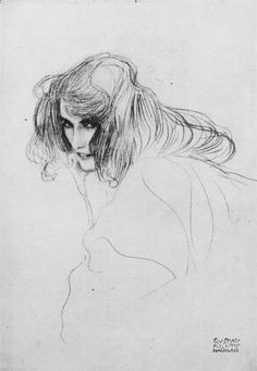"""Study of a woman's head in three-quarter profile (Study for Unchastity in the """"Beethoven Frieze"""") - by Gustav Klimt"""