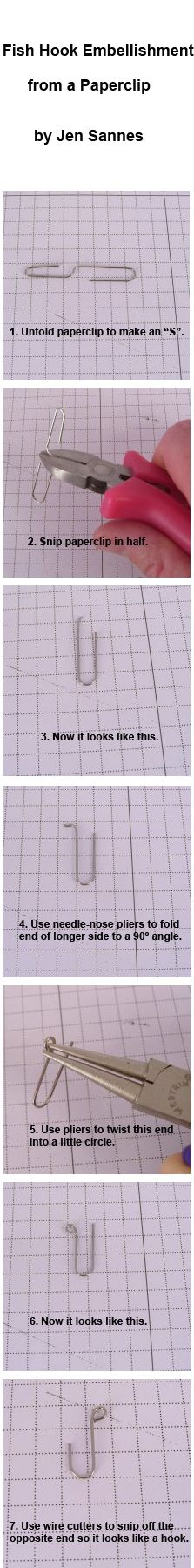 How to make a fish hook embellishment from a paperclip - by Jen Sannes