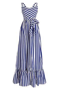 Crew Stripe Ruffle Cotton Maxi Dress (Regular & Plus Size) Plus Size Maxi Dresses, Striped Maxi Dresses, Cotton Dresses, Stripe Dress, Dress Outfits, Casual Dresses, Fashion Dresses, Summer Dresses, Emo Fashion