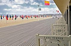 Les Planches in Deauville beach, (Deauville Promenade), Calvados, Basse Normandie, France.