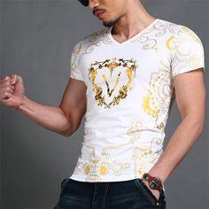 Fashion Luxury new casual cotton t shirt men brand 2016 slim short sleeve v neck printed male tshirt tops tees Men's Clothing