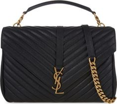 Saint Laurent Monogram CollÈge Large Chain Shoulder Bag, Black/gold In Navy Gold Hardware Satchel Purse, Leather Satchel, Leather Purses, Leather Handbags, Large Shoulder Bags, Chain Shoulder Bag, Ysl Handbags, Quilted Handbags, Luxury Handbags