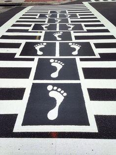 Fun hopscotch zebra crossing in downtown Baltimore! Source by TheOTToolbox Pedestrian Crossing, Zebra Crossing, Amazing Street Art, Street Furniture, Furniture Stores, Cheap Furniture, Hopscotch, Outdoor Art, Urban Landscape