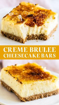 These Creme Brulee Cheesecake Bars turn the classic French dessert into something even easier and tastier! Graham cracker crust, vanilla bean cheesecake filling, and a bruleed sugar topping. YUM! This homemade recipe is more easy to make than you might think! Creme Brulee Cheesecake Bars, Vanilla Bean Cheesecake, Cheesecake Recipes, French Cheesecake, Creme Brulee Cake, Classic French Desserts, French Dessert Recipes, French Recipes, Graham