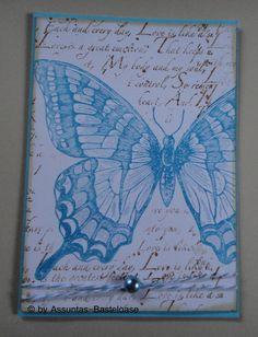 Gruß-oder Glückwunschkarte in hellblau mit einem Schmetterling Teal, Butterfly, Cover, Fun, Light Blue, Crafting, Butterflies, Turquoise, Hilarious