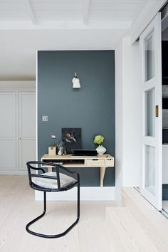 With home office decor as inviting as this, you won't mind being a little more house bound. Get inspired by these stylish home office design ideas Office Wall Colors, Office Color Schemes, Office Walls, Office Artwork, Home Office Space, Home Office Design, Home Office Decor, Home Decor, Office Ideas