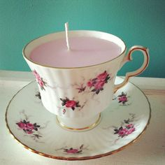 Vintage Teacup candle by Kookie Candles Wedding Table Decoration, Wedding Favours, Unique Gifts,