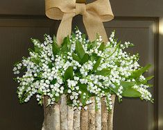 spring wreaths white lily of the valley vases front door decorations birch bark vases floral container Mother's day gifts wreaths