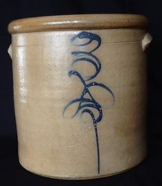 Antique Blue Salt Glaze Decorated Red Wing Bee Sting Stoneware 3 from vintageverve on Ruby Lane