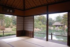 The interior of the Geppa Pavilion of the Katsura Imperial Villa, perfectly integrated into the garden