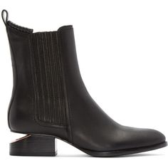 Alexander Wang Black Notched Heel Anouck Ankle Boots (880 AUD) ❤ liked on Polyvore featuring shoes, boots, ankle booties, black leather bootie, black bootie boots, ankle boots, leather booties and black bootie