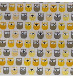 Coton écru imprimé hibou jaune et gris