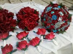 Brooches and Roses Wedding Bouquet Set, Custom, Deposit, Bridal Party Package,