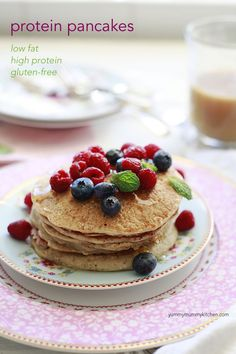 Protein Pancakes made with oats and Greek yogurt. Just as delicious as the real thing but gluten free and figure friendly! #recipe
