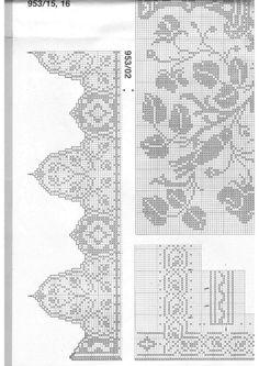"Photo from album ""Burda special 1988 FRA - Filet au crochet on Yandex. Filet Crochet Charts, Crochet Borders, Crochet Lace, Crochet Curtains, Views Album, Crochet Projects, Cross Stitch, Simple, Pattern"