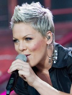 Pink haircut    SHOWING HER SILVER GRAY