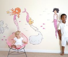 We love these life sized, eco-friendly, nontoxic fabric wall decals from They add such a wonderful touch of whimsy to a kids room or playroom! Mermaid Bedroom, Mermaid Nursery, Mermaid Wall Decals, Kids Wall Decals, Mermaid Wallpapers, Cute Wallpapers, Project Nursery, Little Girl Rooms, Wall Wallpaper