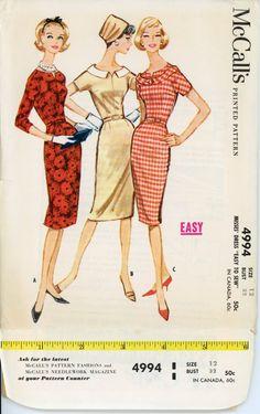1950s Dress Pattern McCalls 4994 Misses Sleeveless Sheath Dress and Jacket Bust 32 Womens Vintage Sewing Pattern UNCUT. $18.00, via Etsy.