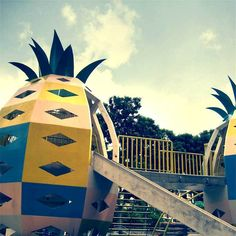 Pineapple playground Singapore's Iconic old school mosaic playgrounds Pineapple Vase, Outdoor Play Structures, Kids Play Equipment, Tyres Recycle, Replay, Kid Spaces, Art Plastique, Psych, Arquitetura
