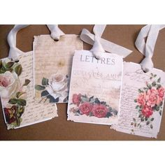 Vintage French Floral Gift Tags no 24 - Letters From Paris - Shabby -... ($5.75) ❤ liked on Polyvore