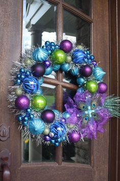 Cool 54 Colorful Christmas Decor Ideas : Cool 54 Colorful Christmas Decor With Wooden Foor And Purple Blue Wreaths Ornament
