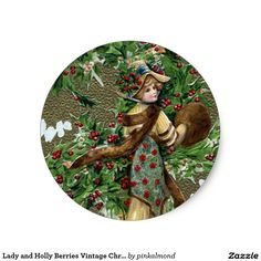 Lady and Holly Berries Vintage Christmas