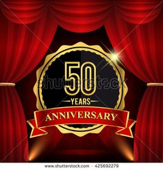 50 years anniversary celebration with red ribbon. Curtain background and light shine. 50th golden anniversary logo. - stock vector