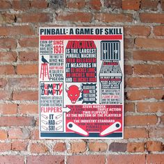 Our history of pinball info-graphic poster! In red, dark blue and off white. Perfect wall art for your game room, man cave/woman cave (hate this