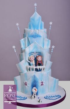 Gâteau de la reine des neiges, Frozen Frozen Birthday Cake, Frozen Cake, 7th Birthday, Birthday Cakes, Fondant, Disney Cakes, Edible Art, Creative Cakes, Disney Frozen