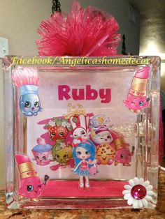 Shopkins inspired glassblock night light party centerpiece by