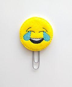 Laughing Emoji Felt Paperclip   Bookmark   Paper Clip   Planner Accessories   Feltie   Planner Clip   Gifts for Teens   LOL Emoji   Kawaii