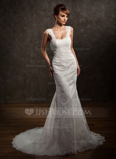 Trumpet/Mermaid Sweetheart Chapel Train Satin Tulle Wedding Dress With Lace Beading (002011449) ****good reviews*****!!!!