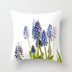 Hyacinth, Watercolor, Garden, Decorative Throw Pillow