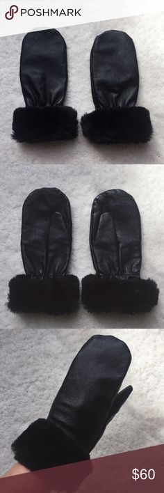 Leather mittens with faux fur trim Genuine leather with faux fur trim on the wrists. Marked as a Medium, but fits like an XS. Recommended for smaller hands and more petite wrists. Price is negotiable! Wilsons Leather Accessories Gloves & Mittens
