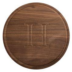 "Monogrammed 10.5 Inch Round Walnut Cutting Board (""NO Initial""), Brown (Wood)"