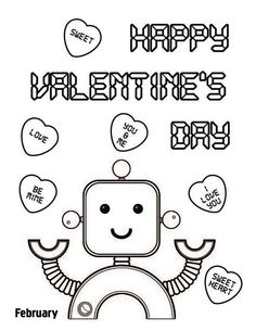 happy valentines day say the cute robot coloring page