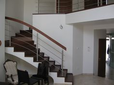 Interiér - nerezové zábradlí s dřevěným madlem Stairs, Home Decor, Stairway, Decoration Home, Room Decor, Staircases, Home Interior Design, Ladders, Home Decoration