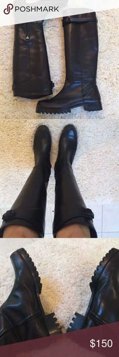 Calvin Klein Collection black knee-high boots Boots from Calvin Klein's top leather collection. These boots were made in Italy with gorgeous and supple leather. Inside zip at bottom to help you get in them. Jagged rubber sole give boots great look in foul weather. Mint condition. 38.5B feels true to size but definitely not wide if you wear a heavy sock. Calvin Klein Collection Shoes Heeled Boots