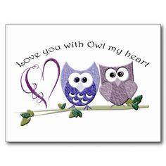 Love you with Owl my heart, cute Owls art Postcard