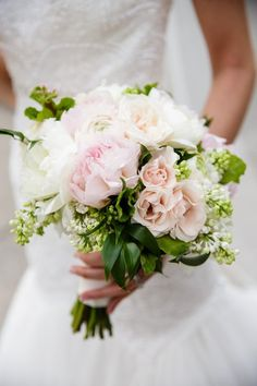 Lush wedding bouquet idea -  pink + white bouquet of peonies and roses {Modern Wedding Photography}