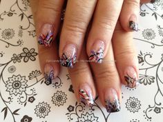 Found another great nail design, re pin and share for others ((TAB)) Red, black and nude flick nail art with Swarovski crystals
