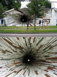 Houston artists, Dan Havel and Dean Ruck, turned them into an art installation… 3d Street Art, Historical Art, Exhibition Space, Art For Art Sake, Land Art, Public Art, Urban Art, Installation Art, Unique Art