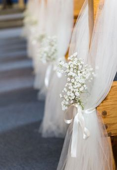 church wedding Wedding decorations tulle beautiful 58 Ideas for 2019 Wedding Church Aisle, Wedding Pews, Wedding Isles, Wedding Chairs, Wedding Bouquets, Wedding Flowers, Church Weddings, Wedding Ideas With Tulle, Church Ceremony Decor