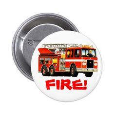 Trucks Birthday Party Favors Firetruck Pinback Button