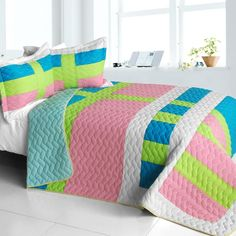 Lollipops Bedding Quilted Full / Queen Comforter Set Modern Geometric & Fun! @www.designedtoinspirebedding.com