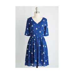 Mid-length Short Sleeves A-line Peerless Pirouette Dress ($100) ❤ liked on Polyvore featuring dresses, apparel, blue, fashion dress, short sleeve a line dress, blue ballet dress, elbow sleeve dress, mid length dresses and print dress