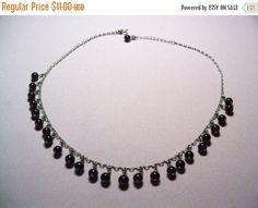 SALE vintage black dangling bead necklace estate by vintagebyrudi