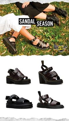 Shop Women's Sandals at Dr. New and classic styles like Yelena Sandal, Gryphon Sandal, and Blaire Sandal are available in a variety of leathers, textures, and colors. Women's Sandals, Strap Sandals, Black Sandals, Pretty Shoes, Cute Shoes, Me Too Shoes, Dr. Martens, Head Over Boots, Leather Gladiator Sandals